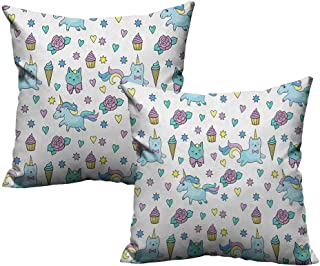 RuppertTextile Customized Pillowcase Unicorn Cat Girls Pattern with Hearts Stars Flowers Ice Cream Cute Funny Without core W20 xL20 2 pcs