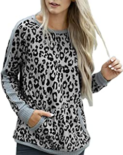 Ivay Womens Leopard Sweatshirts Crew Neck Long Sleeve Fall T Shirts with Pocket