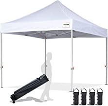 EliteShade 10'x10' Commercial Ez Pop Up Canopy Tent Instant Canopy Party Tent Sun Shelter with Heavy Duty Roller Bag,Bonus 4 Weight Bags,White