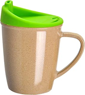 ERTONGHUANBAOCANJU Duck-billed Learning Drinking Cup Rice Husk Green Handle Cup Creative Crow Mouth Leakproof Anti-hot Wit...