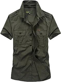 Goorape Men's Military Dress Stylish Short Sleeve Cotton Button Down Shirts