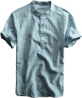 Mens Linen Henley Shirt Vertical Striped Short Sleeve Banded Collar Summer Beach V Neck Hippie T Shirt