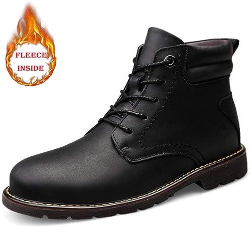 EGS-chaussures Bottes Mode pour Hommes Bottes décontractées en Peau Peau de Vache, Haut de Gamme en Plein air, Bottes Martin (Warm Velvet en Option) Chaussures de Cricket (Couleur   Warm noir, Taille   38 EU)  vente en ligne