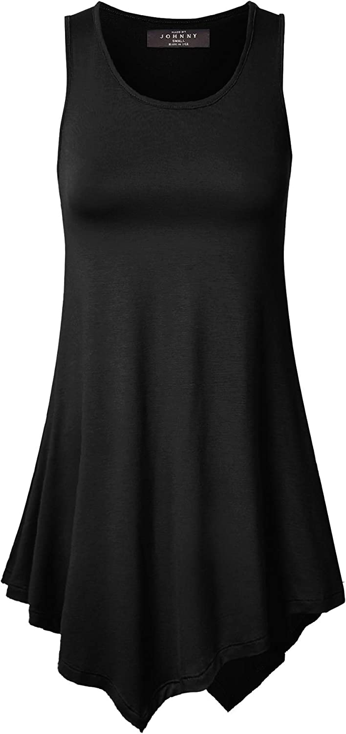 Made By Johnny Womens Sleeveless Comfy Tunic Tank Top with Various Hem - Made in USA