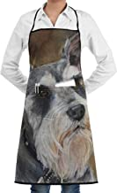 Eco-Friendly Schnauzer Art Painting Apron with Pockets Locked for Cooking Baking Crafting Gardening BBQ (20.5 X 28.3 Inches)