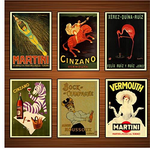 Vintage alcoholische dranken wijn bier vermout Martini klassieke canvas schilderijen print muur posters Home decor gift-40x50x6Pcscm geen frame