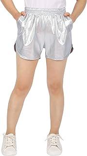 HDE Women's Hot Shorts Loose Shiny Metallic Yoga Pants