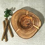 Cenicero de madera de olivo, estilo rústico con borde de corteza