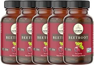 Naturevibe Botanicals Beet Capsules, Ultra-Premium –100% Organic Beet Root Powder, 1100mg Per Serving | 600 Veg Capsules (5 Packs of 120 Capsules Each) | Gluten Free