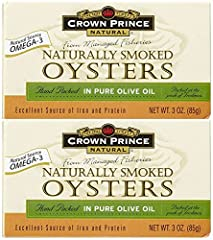 Crown Prince Smoked Oysters in Pure Olive Oil The Seas Finest, Natural Source Omega-3 From Managed Fisheries, Hand Packed Packed at the Peak of Freshness Excellent Source of Iron and Protein Pull-Top Can