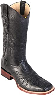 Men's Wide Square Toe Black Genuine Leather Caiman Belly w/Saddle Skin Western Boots