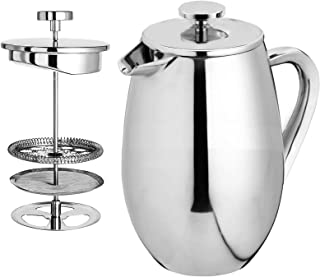 Cuisinox Double Walled French Press, 1.0-Litre, Silver