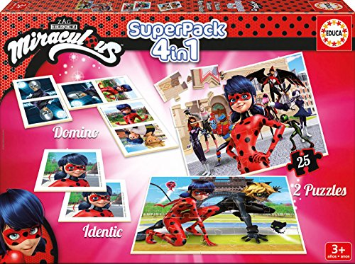 Educa - Superpack Miraculous Ladybug: Domino, Identic y 2 pu