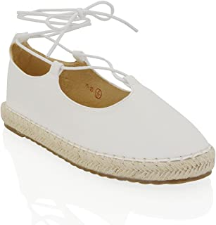 ESSEX GLAM Womens Lace Up Strappy Flat Platform Synthetic Leather Ladies Espadrille Shoes