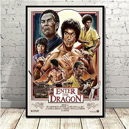 Yiwuyishi Bruce Lee Kung Fu Movie Star Posters con impresión de Alta definición y Pintura en Lienzo Imagen de Arte de Pared Vintage Decoración para el hogar 50x70cm P-1058
