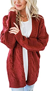 ZOMUSAR Womens Open Front Long Sleeve Chunky Knit Cardigan Sweater Casual Outerwear