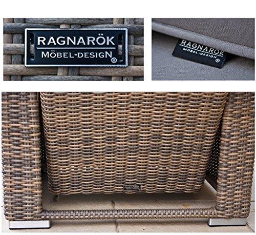RAGNARÖK hohe Dinning Lounge - DEUTSCHE Marke - 8 Jahre GARANTIE EIGENE Produktion - PolyRattan Gartenmöbel Essgruppe Hocker Sessel verstellbare Lehn Naturfarben Rundrattan - 8