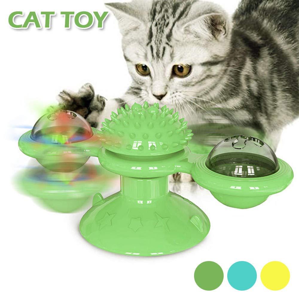 LI-SCARF Molino de viento para mascotas, juguete interactivo, tocadiscos de masaje, molino de viento, juguete giratorio interactivo, rompecabezas de entrenamiento para gatos: Amazon.es: Productos para mascotas