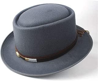 Pork Pie Hat Fedora Trilby Pork Pie Hat with Belt Retro Trilby Hat Men Women Tea Party Hat Outdoor Casual Hat Size 58CM (Color : Gray, Size : 58)