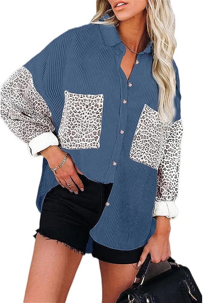 ZFQQ Otoño / Invierno Mujer Casual Multicolor Estampado de Leopardo Costura Solapa Camisa de Pana Chaqueta Suelta