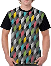 Graphic T-Shirt,Geometric,Abstract Art Style Illustration of Colorful Squares Modern Expression Pattern,Multicolor S-XXL Women Baseball Short Sleeve Shirts