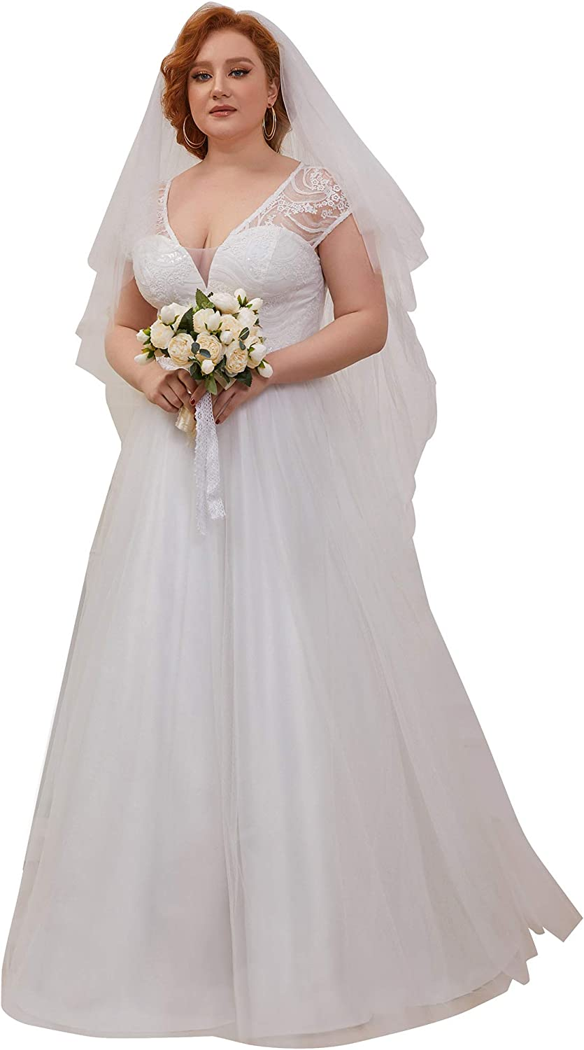 Ever-Pretty Womens V Neck Lace Embroidered A Line Simple Wedding Dress 0235-PZ