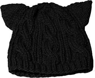 BIBITIME Knit Dog Ear Hat for Women Knitting Crochet Handmade Warmer Beanie Cap