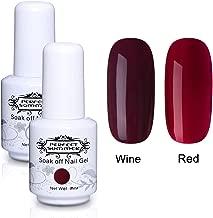 Perfect Summer 2PCS Gel Nail Polish Set Wine Red Colours Shiny Gel Nails Soak Off UV LED Manicure French Nail Kit 8ML