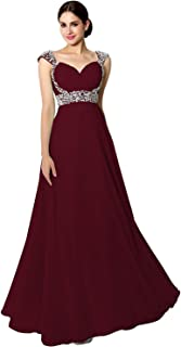 Sarahbridal Women's Beaded Prom Dress Long 2019 Chiffon Bridesmaid Gowns for Wedding
