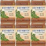Auromere Ayurvedic Bar Soap, Sandal Turmeric - Eco Friendly, Handmade, Vegan, Cruelty Free, Natural, Non GMO (2.75 oz), 6 pack