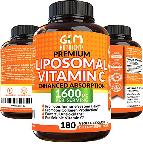Gem Nutrients Liposomal Vitamin C 1600mg, 180 Capsules - High Absorption, Fat Soluble VIT C, Antioxidant Supplement, Immune System Support & Collagen Booster, Non-GMO, Vegan Pills