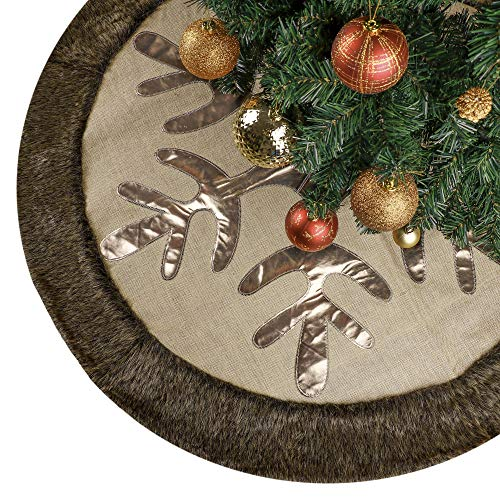Valery Madelyn 48 inch Woodland Burlap Christmas Tree Skirt Decorations with Snowflake and Faux Fur, Themed with Christmas Tree Decor (Not Included)