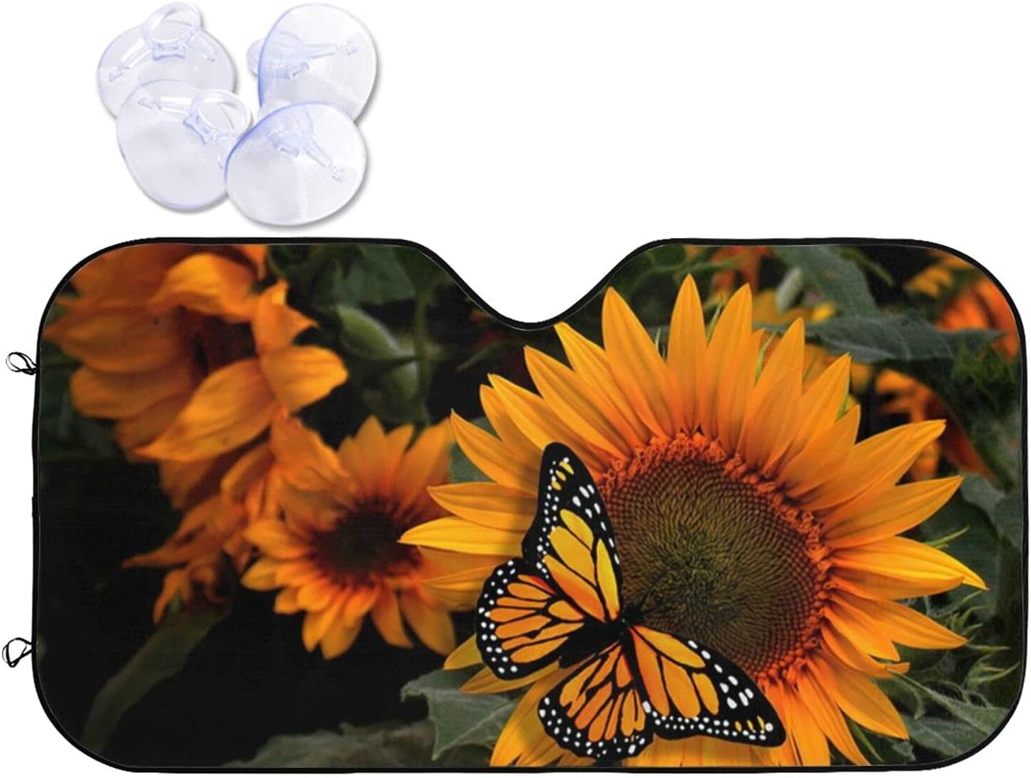 KXT Max 45% OFF Windshield Sun Shade Sunflower Foldable Minneapolis Mall Car Butterflies with