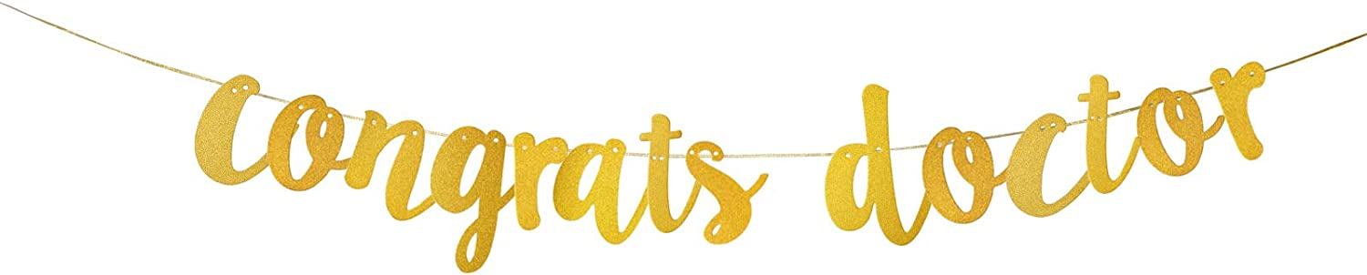 Congrats Doctor Banner,Gold Glitter Sign for Medical Doctor Graduation Decor,Graduation Sign,Doctor College Graduation Party Supplies Decoration.