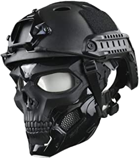 JFFCESTORE Tactical Mask and Fast Helmet,Protective Full Face Clear Goggle Skull mask Dual Mode Wearing Design Adjustable Strap One Size fits All
