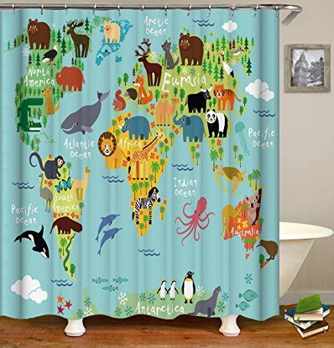 QCWN Duschvorhang mit Tierkarte & Zoo-Motiv, schimmelresistent, Ozean, Meereswelt, Tierstandort, Cartoon-Bild, Badezimmervorhang mit gratis Haken, mehrfarbig