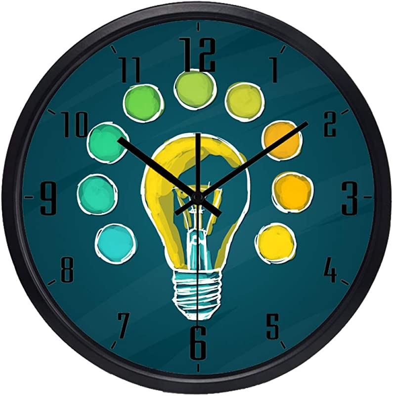 YJSMXYD Wall Clocks For Living Room Creative Lamp Bulb Idea Design Silent Design And Durable Perfect Decor For Home Office Kids Room Nursery Room Restaurant Or Coffee Shop