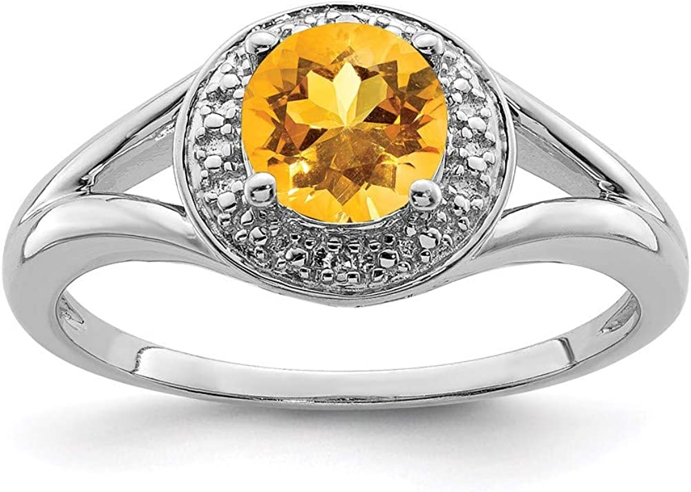 925 Sterling Silver Diamond Yellow All stores are sold Band Clearance SALE! Limited time! Citrine Ring Birthstone