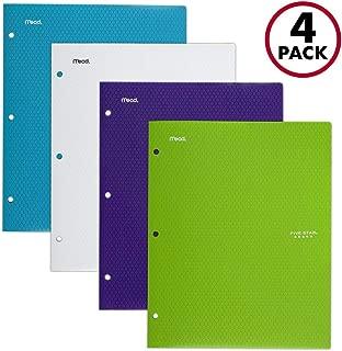 Five Star 2 Pocket Folders, Stay-Put Tabs, Binder Folders with Pockets, Fits 3 Ring Binder, Plastic, Teal, White, Purple, Lime, 4 Pack (38065)