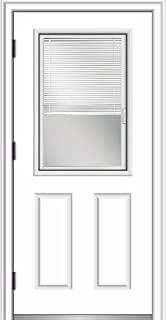 National Door Company ZZ364850R Primed, Right Hand Outswing, Prehung Front Door, 1/2 Lite 2-Panel, Clear Glass Internal Blinds, 36