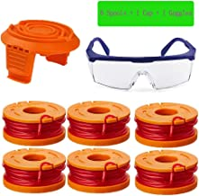 """TOPEMAI 0.065"""" WA0010 Replacement Trimmer Spool Line for Worx WG154 WG163 WG160 WG180 WG175 WG155 WG151 String Trimmer (6 Spools + 1 Cap + 1 Goggles)"""