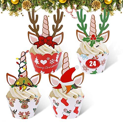 24 Pezzi Toppers Involucri Cupcake Natalizi, Natalizie Decorazioni per Torta Muffin Dessert, Pirottini per Cupcake Natalizi per Bambini Compleanno Natale Nuovo Anno Decorazione (Unicorno, Renna)