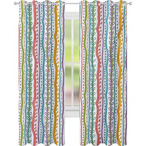 Cortinas de tratamientos para ventanas, líneas verticales abstractas destacadas, curvadas, elegantes bandas y puntos, 52 x 108, cortinas de ventana para dormitorio, multi