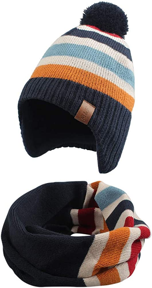Knitted Baby Hat 1 year warranty Scarf Set Winter Beanie shop Warm Girls Boys Fleece