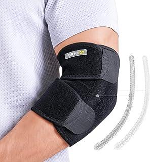 Bracoo EP30 I Codera Estabilizadora, Ajustable de Neopreno, Protección, Recuperación, Prevención Esguince y Lesiones Deportivas, Resortes Laterales
