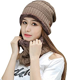 Kafeimali Women's Beanie Hat Scarf Set Knit Warm Thick Winter Snow Skull Caps