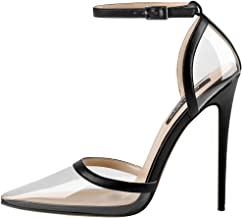 Onlymaker Women's Clear Pointed Toe Ankle Strap D'Orsay High Heel Stiletto Pumps