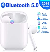 $25 » Bluetooth 5.0 Wireless Earbuds with【24Hrs Charging Case】 Waterproof TWS Stereo Headphones in-Ear Built-in Mic Headset Premium Sound with Deep Bass for Sport Earphones Apple Airpods Headphones