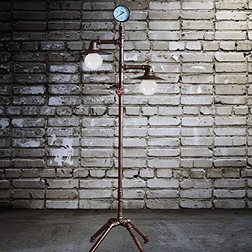 L industriële retro vloerlamp, dubbele kop E27 doet de oude antieke koperen smeedijzeren waterpijp vloerlamp 1,53 m met de verduisteringsschakelaar