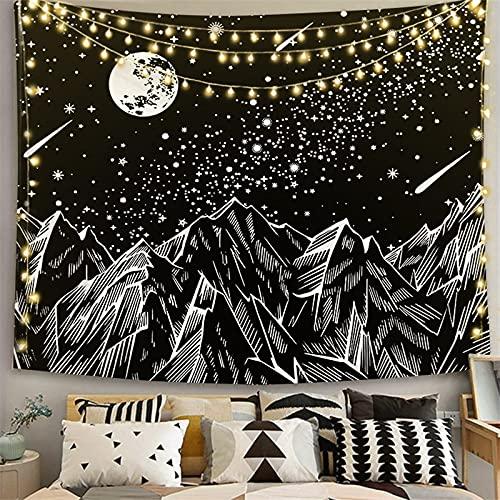 PPOU Mandala Blanco Negro Sol y Luna Tapiz Tapiz para Colgar en la Pared Tapiz Hippie Dormitorio Decoración Mantas Muebles para el hogar A7 150x200cm